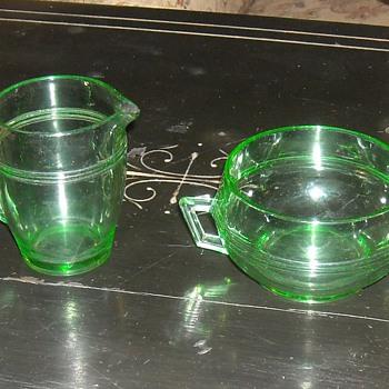 Cream and Sugar Set  Fostoria Glass Priscilla Pattern