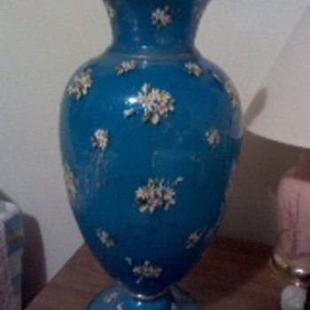 Bohemian Hand Painted Vase - Art Glass