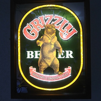 Grizzly Beer Lighted Sign - Breweriana