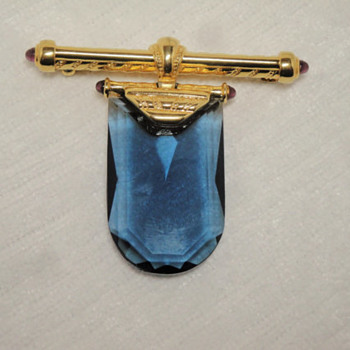 Vintage Scaasi Blue Crystal Glass Pendant Brooch - Costume Jewelry