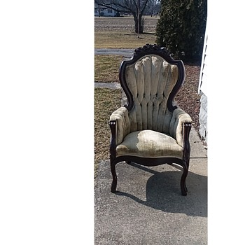 """Kimball"" Victorian Mahogany Carved Rose Gentlemen's Chair / Circa 1960-70 - Furniture"