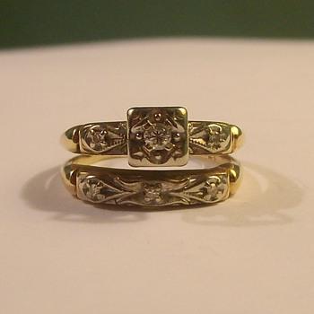 Vintage Wedding & Engagement Set (attached) - Fine Jewelry