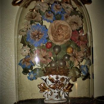 Victorian Flower Arrangement Under Antique Glass Dome - Victorian Era