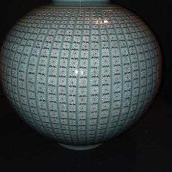 Korean Celadon Vase-(10,000 Daisies) - Asian