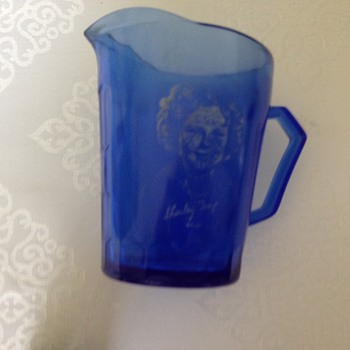 Shirley Temple small blue glass (pitcher)?