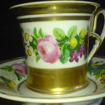 An old china cup , hand painted and elegant romantic design - China and Dinnerware