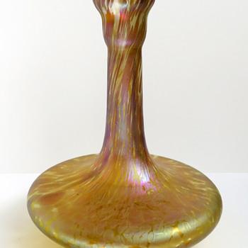 Bohemian Iridescent Papillon Barber's Bottle  - Art Glass