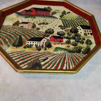 RAYMOND WAITES VINTAGE WOOD TRAY - Folk Art