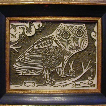 Owl (printing block?) - Animals