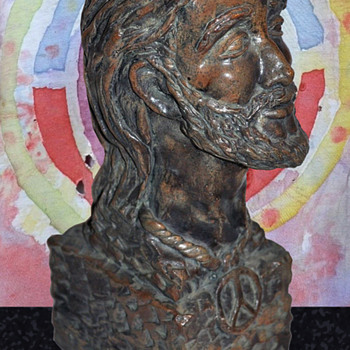 "1970 period Sculpture Bust of Bearded Hippie 11 1/4"" High - Fine Art"