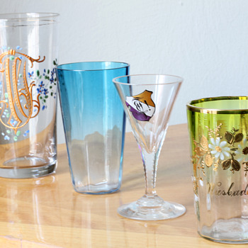 a bunch of 19th century Kitsch Glasses - Glassware