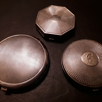3 of my solid silver powder compacts  - Silver
