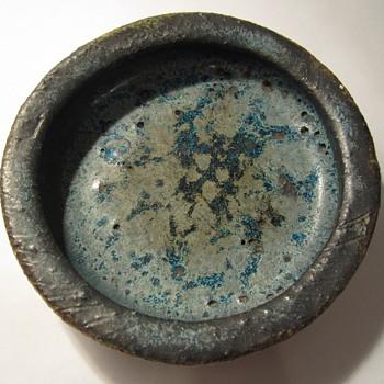 Blue Lava Glaze Small Low Bowl - Pottery