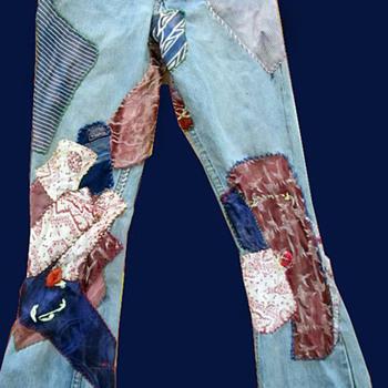"""""""Draft Dodger Blues"""" 1960's Hippie Patched Denim Jeans"""