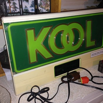 Lighted Kool Cigarette sign w Digital Clock - Signs