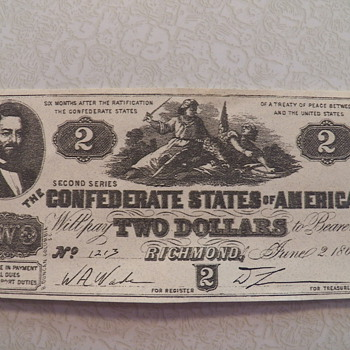 1862 Confererate Money