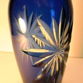 Durand Sapphire Blue Cut to Clear Vase c.1925 - Art Glass