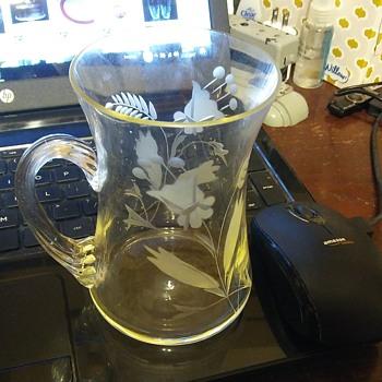 Cut glass rope handle mug/cup