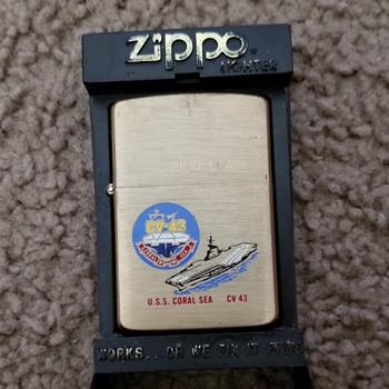 Solid Brass USS Coral Sea Zippo - Tobacciana