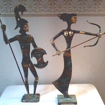"""Katritsis"" Bronze Sculptures Hand Made In Greece /Artemis and Leonidas /Circa 20th Century - Fine Art"