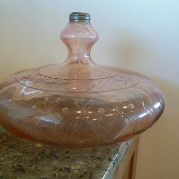 """AMAZINGLY LARGE PINK 12"""" D VINTAGE BLOWN GLASS OIL LAMP FONT"""