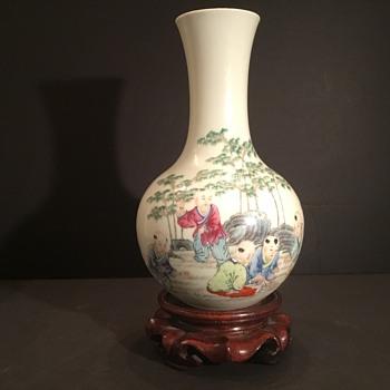 Famille Rose Vase Republic Period 1912-49 HONGXIAN NIAN ZHI - Asian