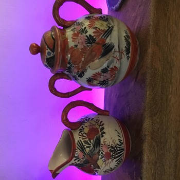 Japenese Orange and white milk jug and sugar pot - Asian