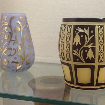 Pair of Loetz Acid Etched Vases, PN unknown, ca. 1914 - Art Glass