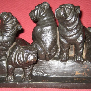 Cast Iron English Bulldog Puppies Doorstop - Animals