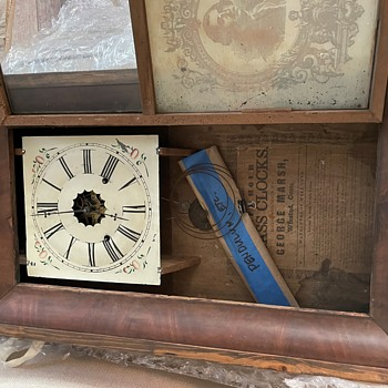 Improved Thirty Hour Brass Weighted Clock, George Marsh, Winsted, Conn - Clocks