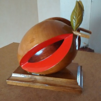 Treen handcrafted by myself apple split for a letter rack or paperweight,  - Folk Art