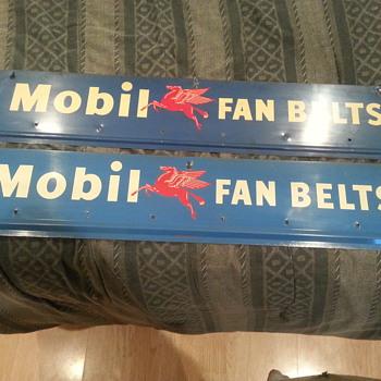 Old Barn Find 1950's Mobil fan belt signs