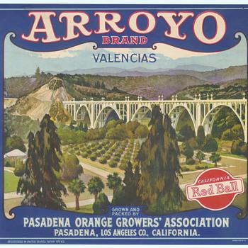 Arroyo Brand Orange crate label Pasadena bridge c 1920 - Paper