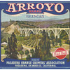 Arroyo Brand Orange crate label Pasadena bridge c 1920