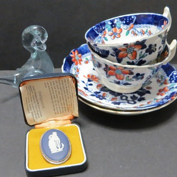 My Indoor Car Boot Booty! Wedgwood Brooch, Neodymium Duck, and Antique Cup and Saucer - China and Dinnerware