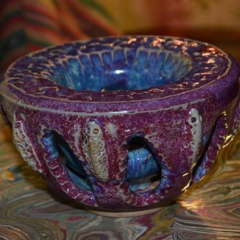 Strange Bowl with holes and beautiful glazes