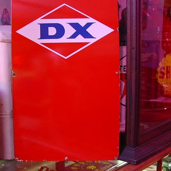 DX...Porcelain Pump Sign...Three Colors - Petroliana