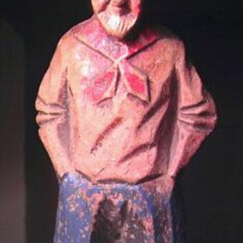 Syroco wood and cold painted statue of an old man - Folk Art