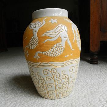 2nd Incised Studio Art Pottery Vase - Marked - Pottery