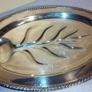 footed oval shaped silverplate serving platter - Kitchen