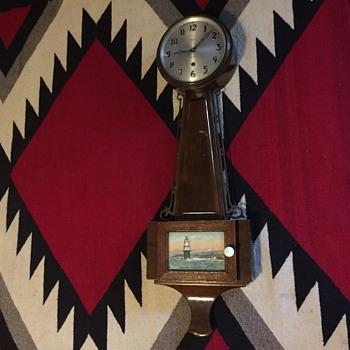 Gilbert 1807 banjo  clock with ship picture  - Clocks