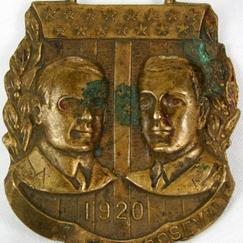 1920 High Relief Roosevelt Cox Political Campaign Jugate Watch Fob