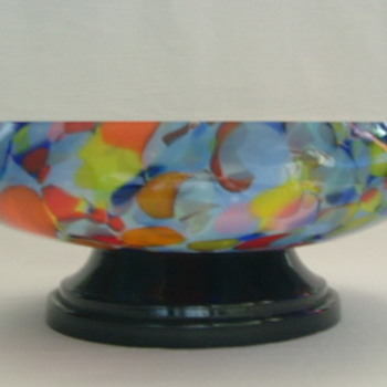 Czech Art Deco Spatter Glass Bowl on Plinth - Art Glass