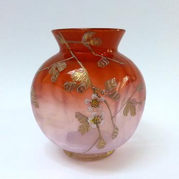 Pink ribbed vase - Art Glass