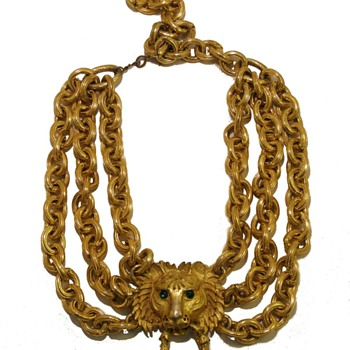 Vintage Pauline Rader Tiger Door Knocker Chain Festoon Necklace