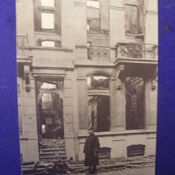WW1.Losses!Damaged Building l in WW1 Lone guard patrols rubble. - Postcards