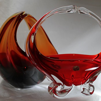 Two Glass Baskets - Japan and Italy (I think!) - Art Glass