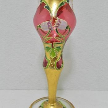 Art Nouveau Enameled Cordial - Moser - Art Nouveau