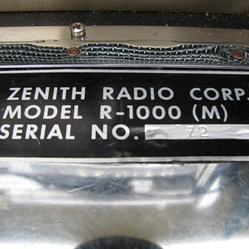 Zenith R-1000 (M) Military transoceanic - Radios