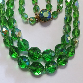 Green Crystal AB Necklace - Costume Jewelry